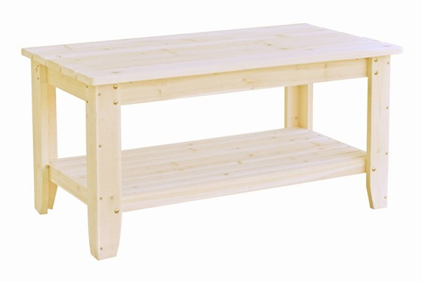 Natural Cedarwood 40 Inch Rectangular Single Shelf Outdoor Chat Table SHN-4135N