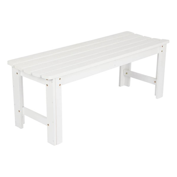 Shine White 48 Inch Backless Garden Bench SHN-4204WT