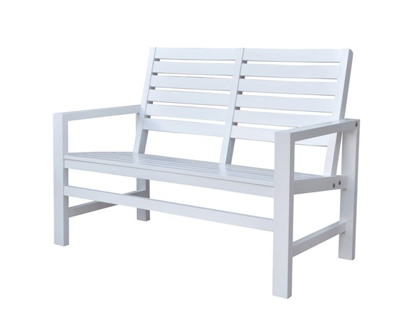 Contemporary White Hardwood 40 Inch Outdoor Garden Bench SHN-4214WT