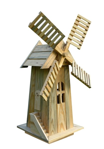 Natural Cedarwood Rectangle Decorative Windmills SHN-4955-WM-VAR