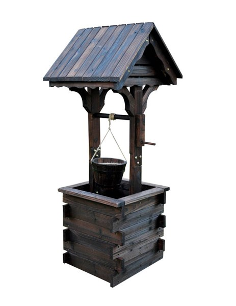 Burnt Brown Cedarwood Decorative Wishing Well SHN-4986BT