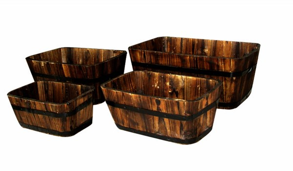 4 Classic Burnt Brown Cedarwood Rectangular Cedar Barrels SHN-5050BT