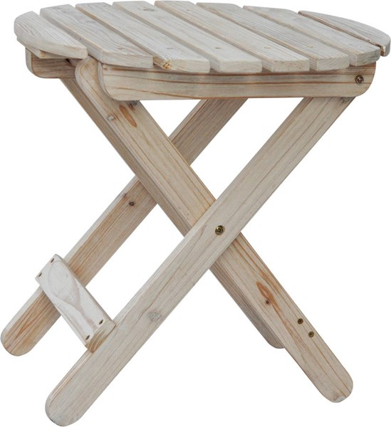 Rustic Distressed White Cedarwood Round Outdoor Folding Table SHN-5108DW