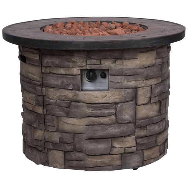 Shine Sevilla Stone Outdoor Round Fire Pit Table With Lava Rocks SHN-6101SC