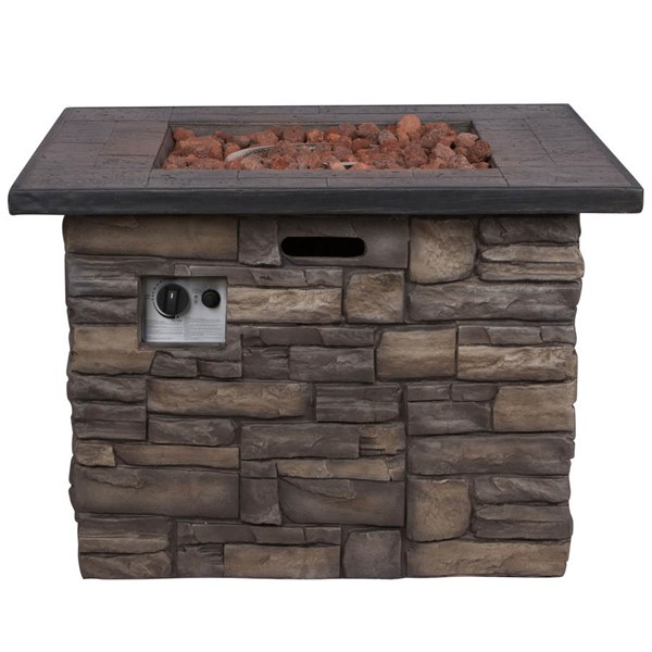 Shine Sevilla Stone Outdoor Square Fire Pit Table With Lava Rocks SHN-6102SC