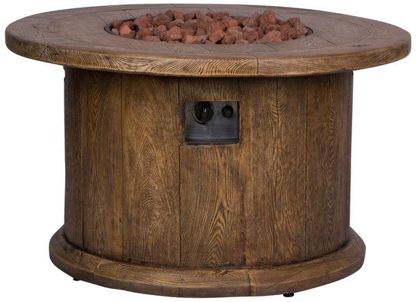 Shine Merida Brown Round Outdoor Fire Pit Table With Lava Rocks SHN-6201BR