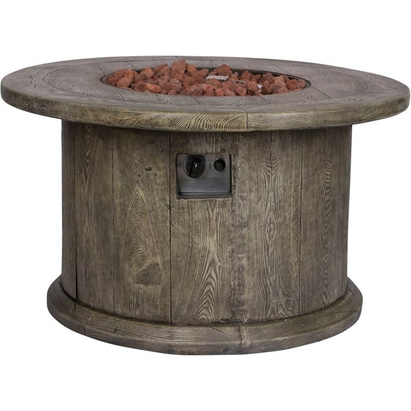 Shine Merida Grey Round Outdoor Fire Pit Table With Lava Rocks SHN-6301GY