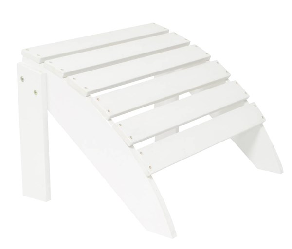 Classic White Synthetic Wood Outdoor Ottoman SHN-7602WT