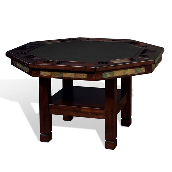Santa Fe Dark Chocolate Wood Octagon Reversible Game And Dining Table 1005DC
