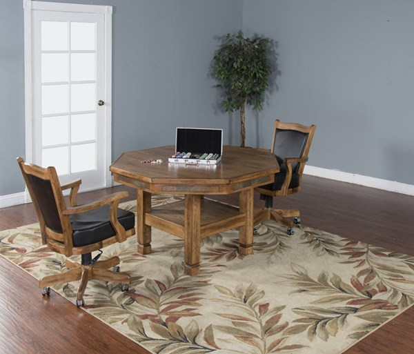 Sedona Rustic Oak Wood Track Arms And Cushion Back 3pc Dining Room Set 1005RO-1411RO-DR-S1
