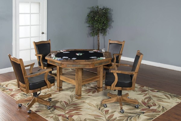 Sedona Rustic Oak Wood Track Arms And Cushion Back Dining Room Set 1005RO-1411RO-DR