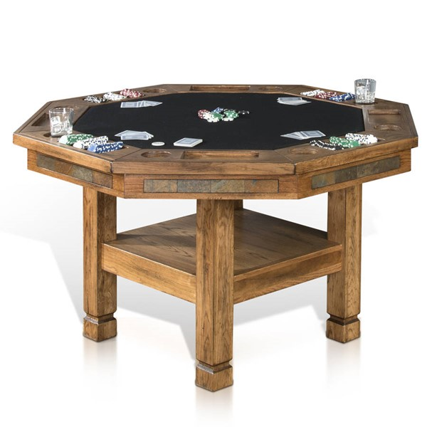 Sedona Rustic Oak Wood Octagon Reversible Game And Dining Table 1005RO