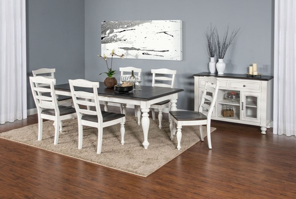 Sunny Designs Carriage House Off White Dark Brown 7pc Dining Room Set 1015EC-DR-S1