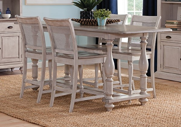 Sunny Designs Westwood Village Taupe White Caneback 5pc Counter Height Set 1107WV-1610WV-24-CNT-S2