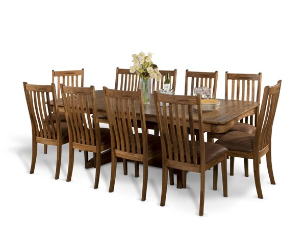 Sedona Rustic Oak Wood Rectangle Extension 11pc Dining Room Set 1121RO-DR-S