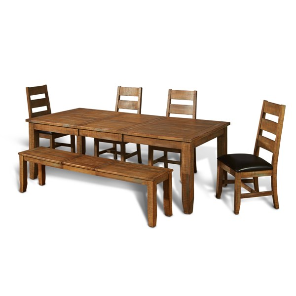Puebla Driftwood Solid Top Rectangle 6pc Dining Room Set 11401460-1461-DW-DR-S1