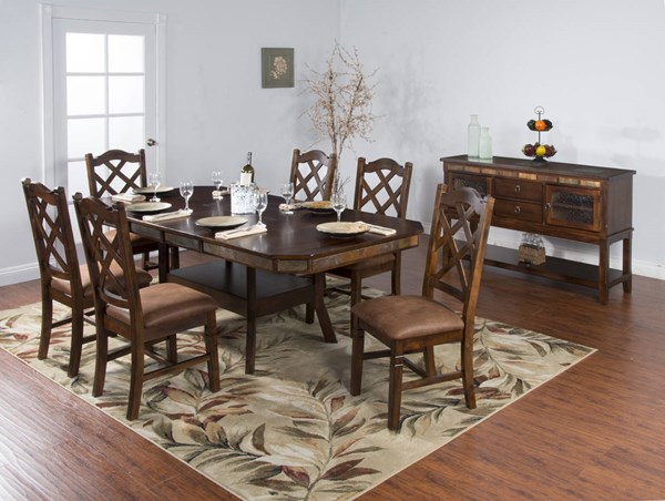 Santa Fe Dark Chocolate Wood Rectangle Extension Dining Room Set 1151DC-TB