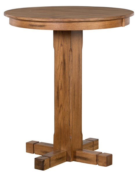 Sedona Rustic Oak Wood Extension Round Pub Table 1165RO