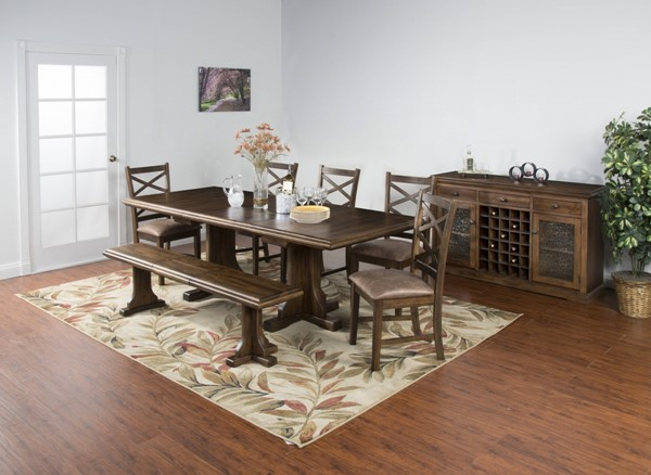 Savannah Antique Charcoal Wood Rectangle Extension 6pc Dining Room Set 1199AC-DR-S1