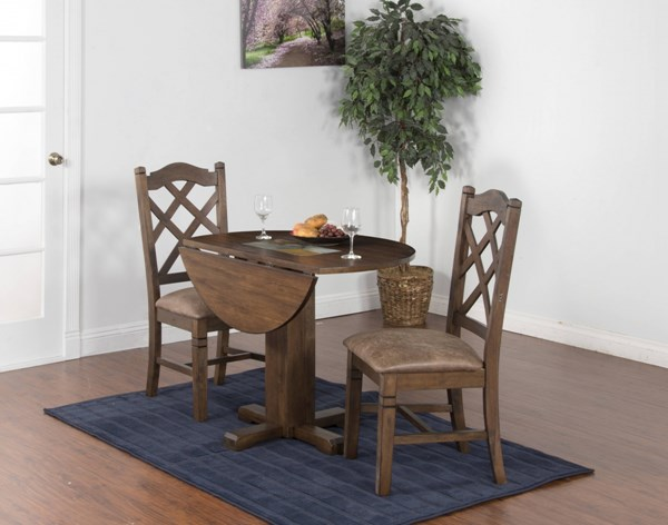 Savannah Antique Charcoal Wood Round Extension 3pc Dining Room Set 1223AC-BAR-S1