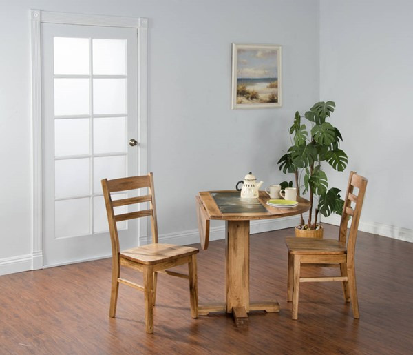 Sedona Rustic Oak Wood Extension Round Dining Room Set 1223RO-TB