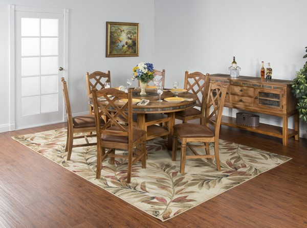 Sedona Rustic Oak Wood Solid Top Round Dining Room Set K1225RO-DR