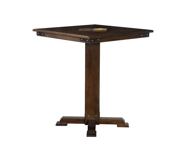 Santa Fe Dark Chocolate Wood Pedestal Base Square Pub Table 1232DC