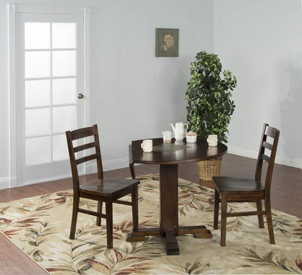 Santa Fe Dark Chocolate Wood Round Extension 3pc Dining Room Set 1233DC-S