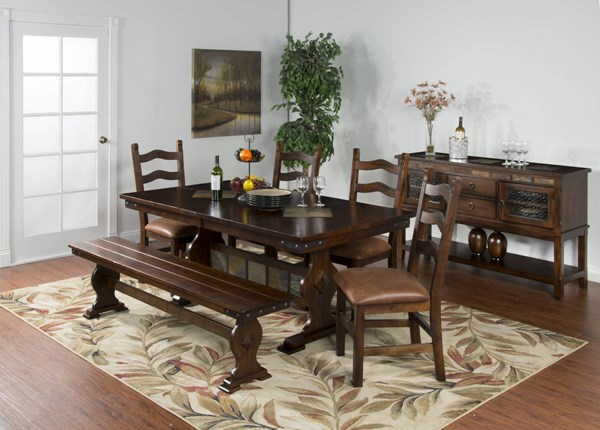 Santa Fe Traditional Dark Chocolate Wood Rectangle Dining Room Set 1235DC-TB