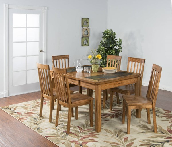 Sedona Rustic Oak Wood Extension 5pc Dining Room Set 1273RO-S