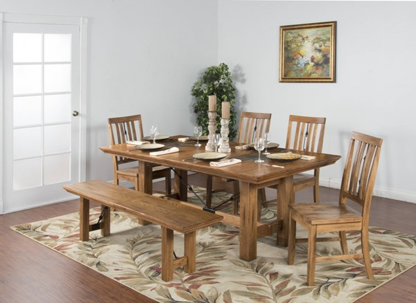 Sedona Rustic Oak Wood Rectangle Extension 6pc Dining Room Set 1356RO-DR-S2