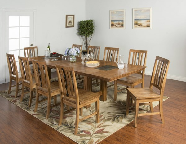 Sedona Rustic Oak Wood Seat Chair and Table 11pc Dining Room Set 1356RO-DR-S1