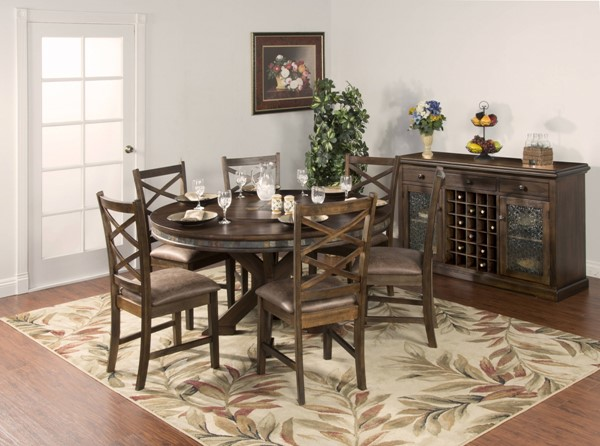 Savannah Antique Charcoal Wood Round Dining Room Set 1365AC-DR