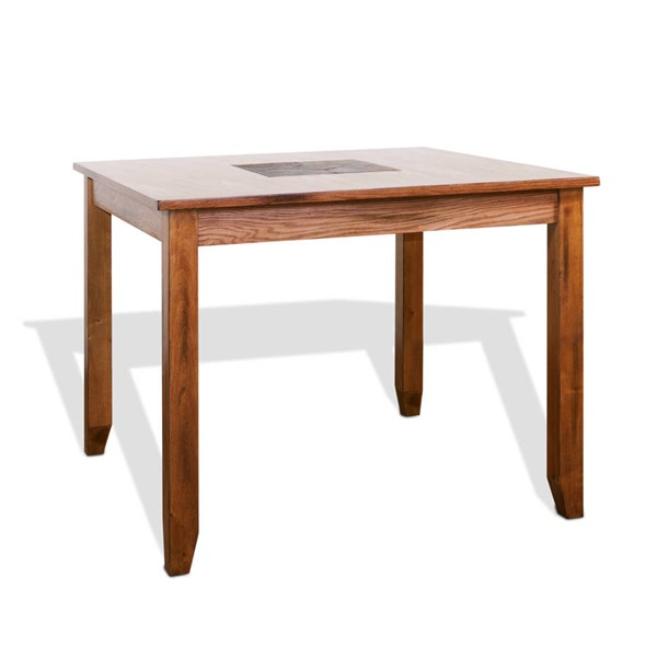 Sedona Rustic Oak Wood Solid Top Square Counter High Table 1366RO