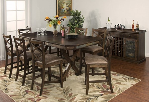 Savannah Antique Charcoal Wood Dining Table w/Adjustable Height 1370AC