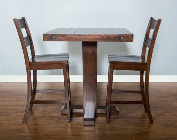 Vineyard Rustic Mahogany Wood Square 3pc Counter Height / Bar Set 1377RM-1508RM-30-BAR-S1