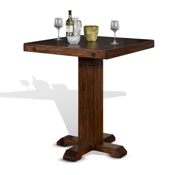 Tuscany Vintage Mocha Wood Pedestal Pub Table Base 1377VM-B
