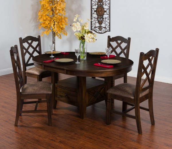 Savannah Antique Charcoal Wood Oval Butterfly Leaf Table 1386AC