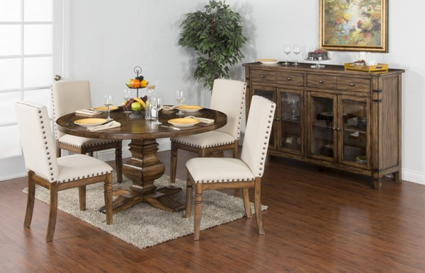 Cornerstone Burnished Mocha Wood Solid Top Round Dining Room Set 1395BM-DR