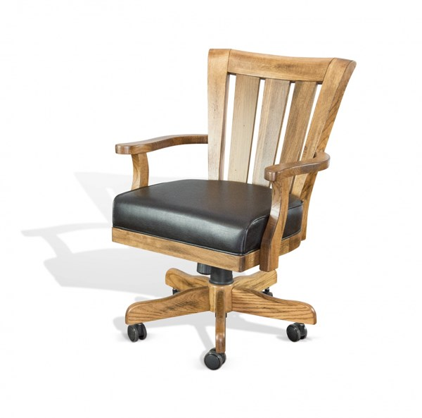 Sedona Rustic Oak Wood Track Arms And Slat Back Caster Game Chair 1412RO