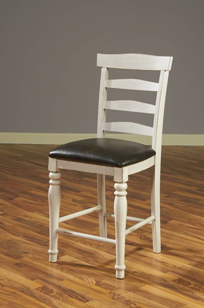 2 Bourbon County French Country Wood Cushions Ladder Back Barstools 1432FC-24C
