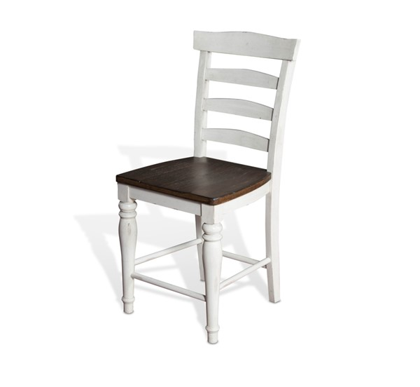 2 Sunny Designs Bourbon County Off White Dark Brown Ladder Back Stools 1432FC-24W