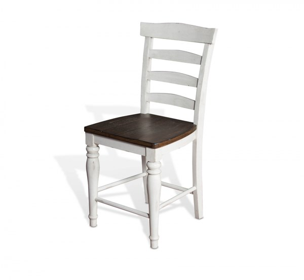 2 Bourbon County French Country Wood Solid Seat Ladder Back Stools 1432FC-24W