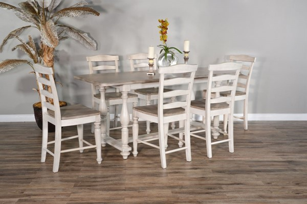 Sunny Designs Westwood Village Taupe White 7pc Counter Height Set 1107WV-1432WV-24-CNT-S1