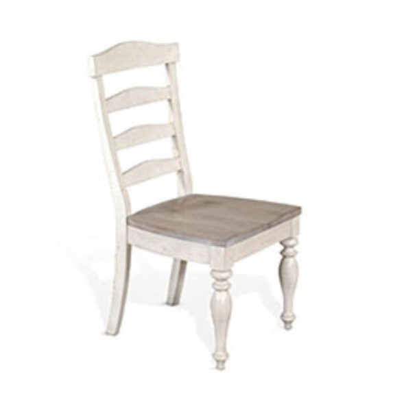 2 Sunny Designs Westwood Village Taupe White Ladderback Chairs 1432WV