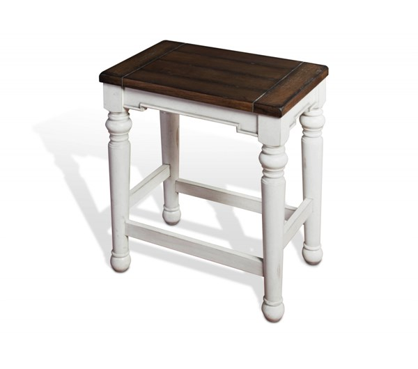 2 Bourbon County French Country Wood Solid Seat Backless Stools 1433FC-24W