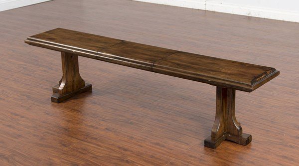 Savannah Antique Charcoal Wood Solid Seat Adjustable Dining Bench 1494AC