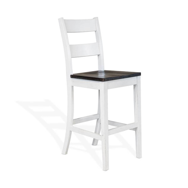 2 Sunny Designs Carriage House Off White Dark Brown 30 Inch Ladder Back Barstools 1508EC-30