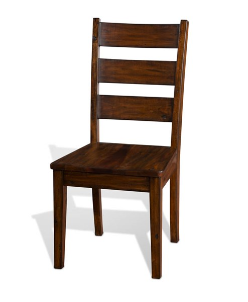 2 Tuscany Vintage Mocha Wood Solid Seat Ladder Back Chairs 1508VM