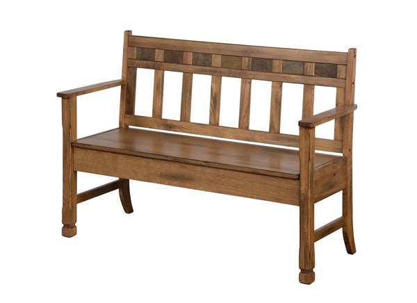 Sedona Rustic Oak Wood With Arms And With Back Storage Bench 1594RO